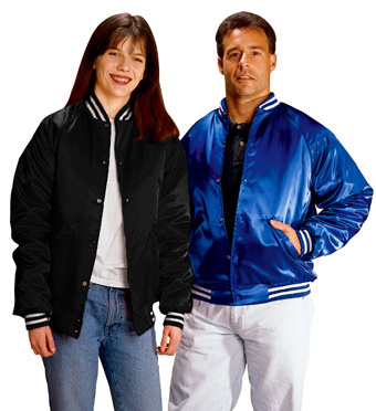Cardinal Activewear Satin Baseball Jacket quilt lined with white ...