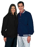 Cardinal Activewear Light Lined Nylon Baseball Jacket with stripe knit trim